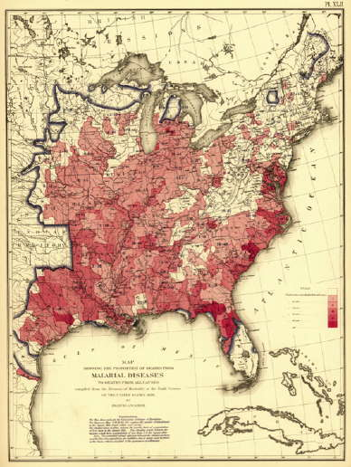 Malaria in Eastern USA in 1870 (Source Library of Congress digital maps collection, via Mystery Rays from Outer Space)
