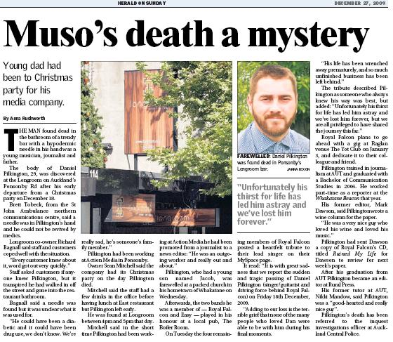 Herald on Sunday report of Daniel Pilkington's death