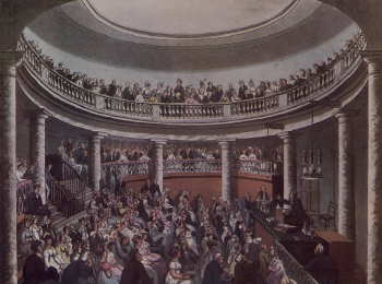 Public chemistry lecture at the Surrey Institute, early 1800s (Source: wikipedia)