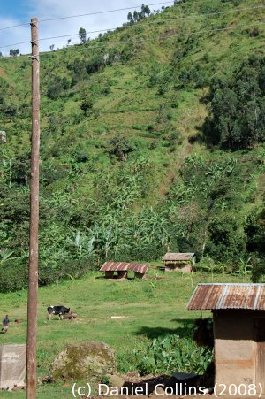Mountain hillslope and village site above Mbale, eastern Uganda.