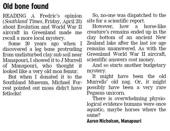 Source: Southland Times (April 26)