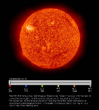 (Screen capture of Larsen's cross-image fader of sun images. Source: Nasa.)