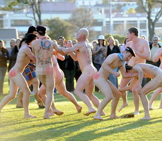 (Mock brawl in nude Blacks v. Welsh Leeks match. Source: Flickr.com)