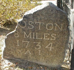 Boston milestone (Source: Wikimedia Commons.)