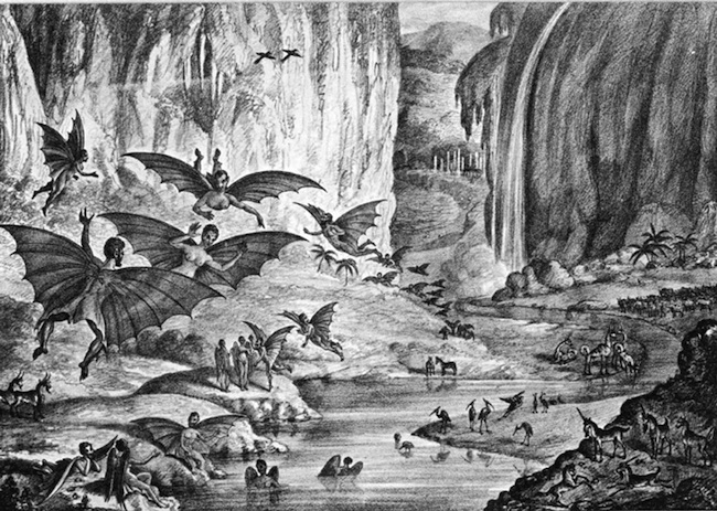 "Great Moon Hoax lithograph of ""ruby amphitheater"" for New York Sun, August 28, 1835 (4th article of 6) (Source: Wikimedia Commons. HT: Bioemphemera.)"
