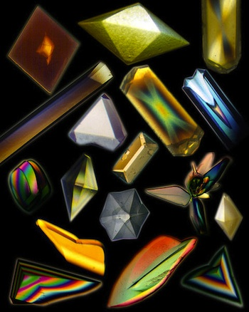 Protein crystals grown in space (Source: Wikimedia Commons.)