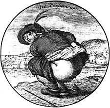 16th Century drawing of a person defaecating (Source: Wikimedia Commons.)