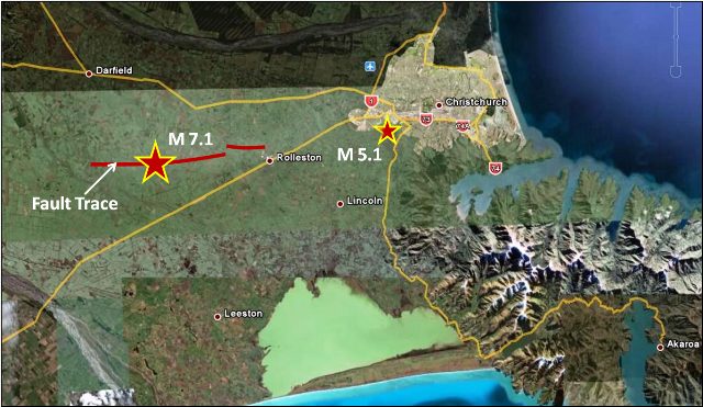 Google Earth Image w/ Fault Trace, Saturdays' M 7.1 Earthquake & Todays' M 5.1 Aftershock