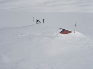 Angelus Hut under snow