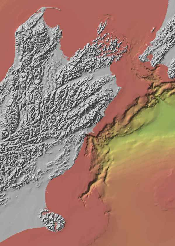 Kaikoura Canyon plunges into the deep sea just meters off the Kaikoura Coast. Map: NIWA ADD ADDRESS