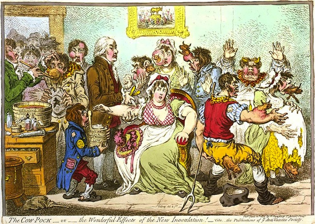 Little cows erupting everywhere - anti-vaccine cartoon from 1802. (Source: Wikimedia Commons.)