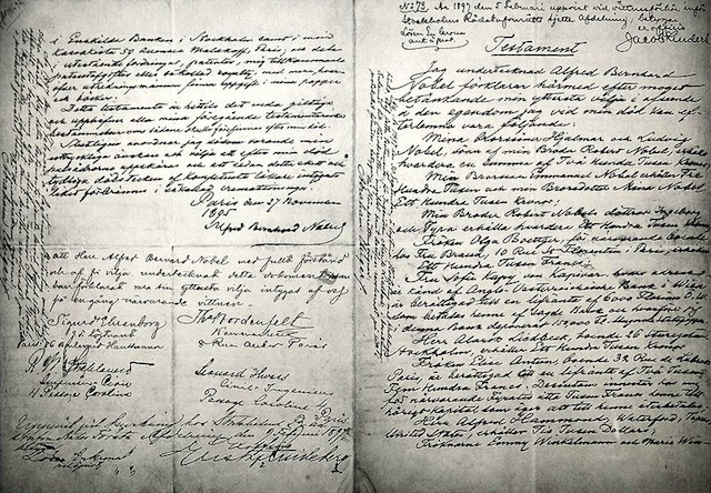 Alfred Nobel's will, endowing the Nobel Prize (Source: Wikimedia Commons.)