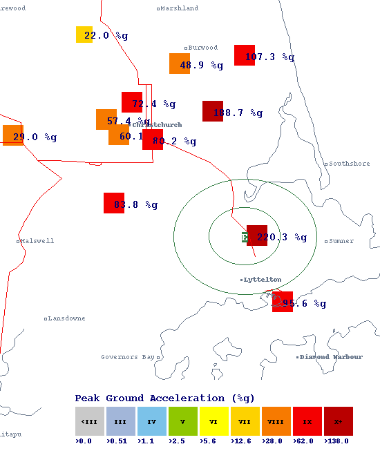 PGA values for Lyttelton Feb 22nd, 2011 earthquake; map from GNS GeoNet website (cropped, with legend moved)
