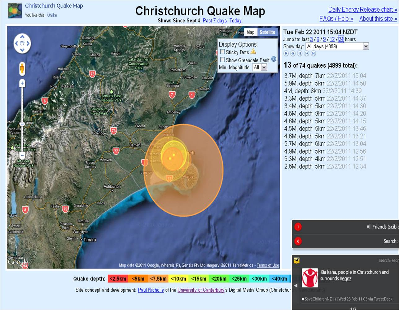 Screenshot of the Christchurch Quake Map (click to see animation)