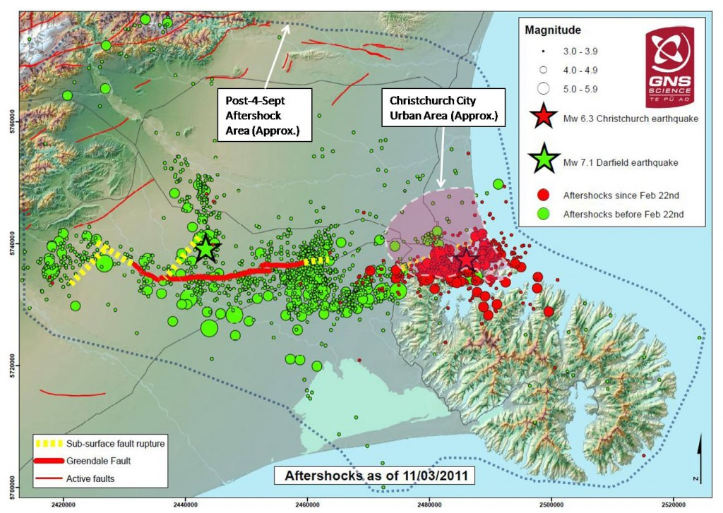Source: GNS Science (aftershock area boundary and urban area added)