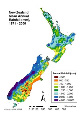 Average annual rainfall across New Zealand.