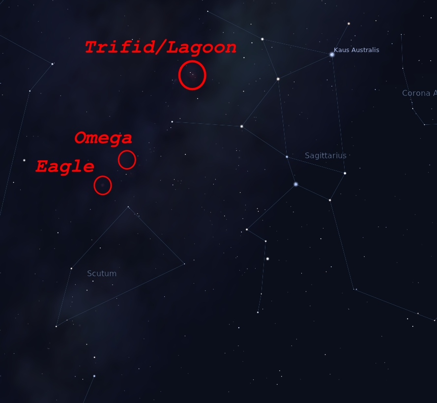 Arrangement of Scutum, Saggitarius and their local nebulae as seen from NZ during Winter