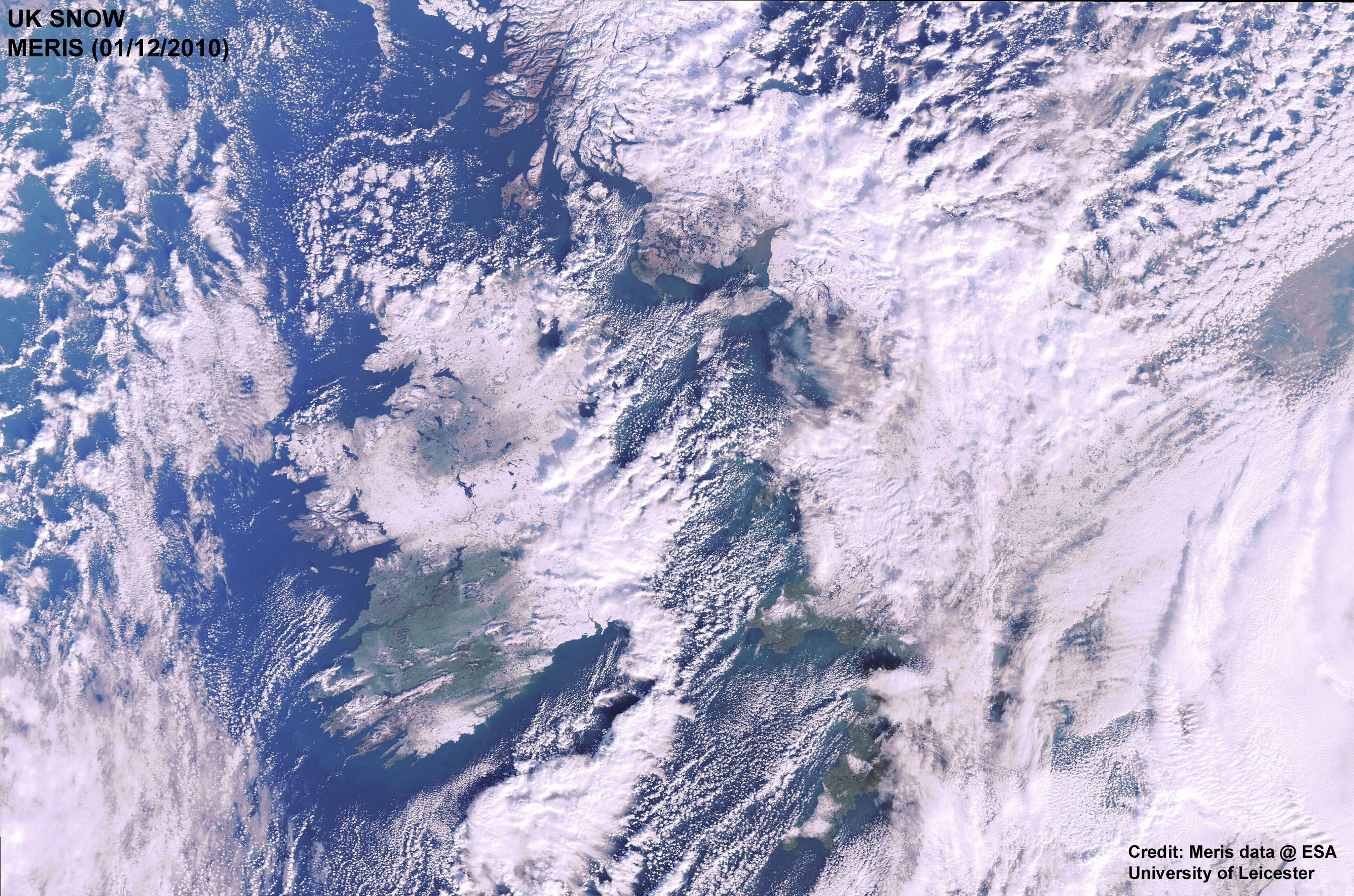 This is an image of snow-bound UK from space by MERIS on Dec. 1.  Credit: MERIS 01 December 2010. Credit: MERIS data @ ESA, and University of Leicester