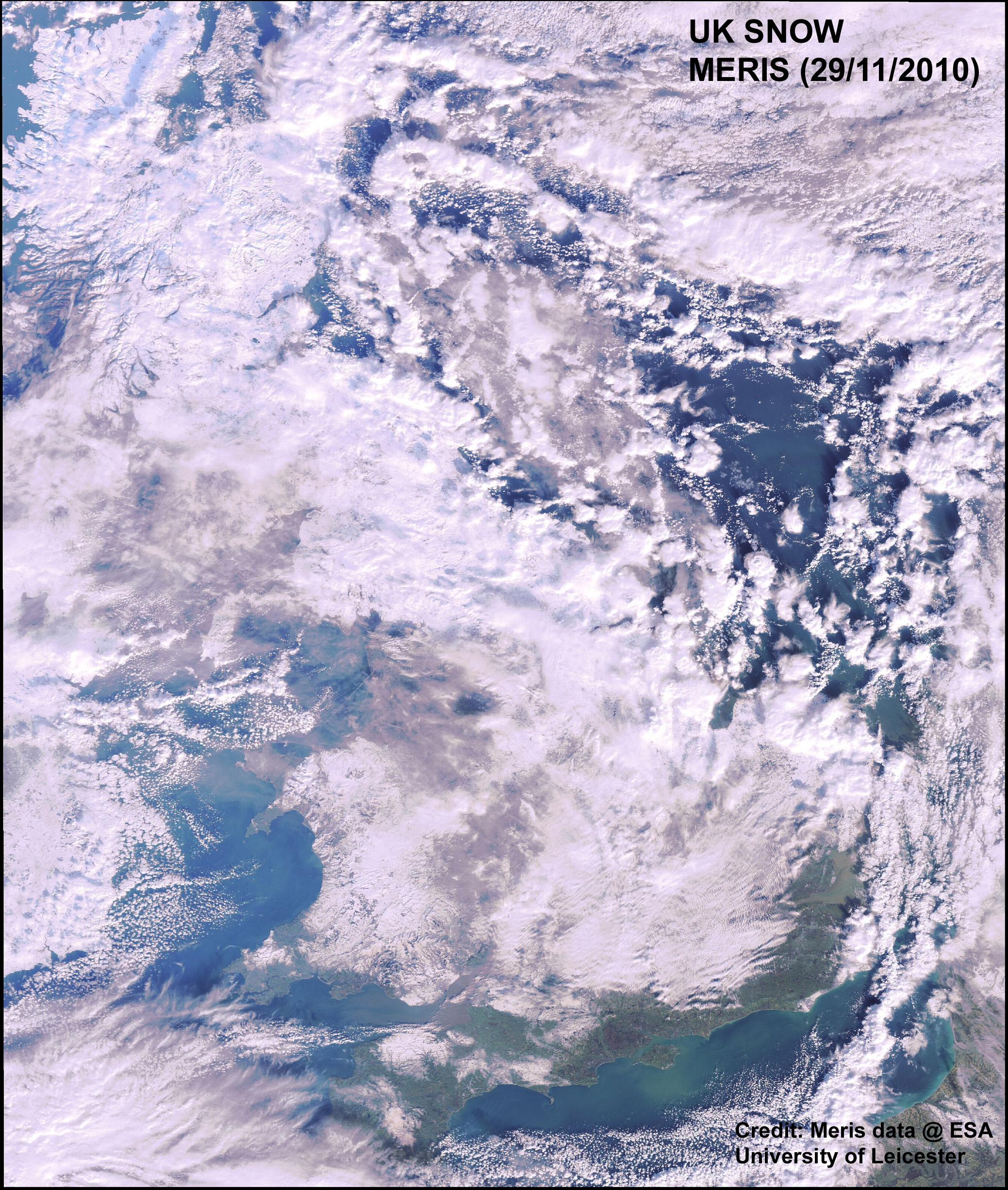 This is an image of snow-bound UK from space by MERIS on Nov. 29.  Credit: MERIS 29 November 2010. Credit: MERIS data @ ESA, and University of Leicester