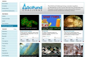 A screenshot of SciFund's homepage