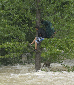 Tourists stranded by floodwaters in Nelson.   Source: The Nelson Mail
