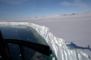 Flying along the face of the Nansen Ice Shelf