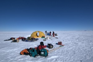 Setting up the field camp on 2 m of sea ice