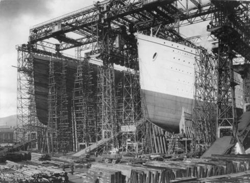 The Olympic under construction at Harland & Wolff, Belfast