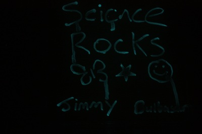 "Ummm, it should say ""science rocks"" but the bugs in our 'e' didn't grow properly...."
