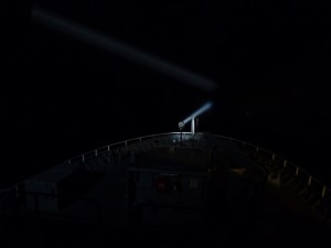 Spotlight on bow of ship