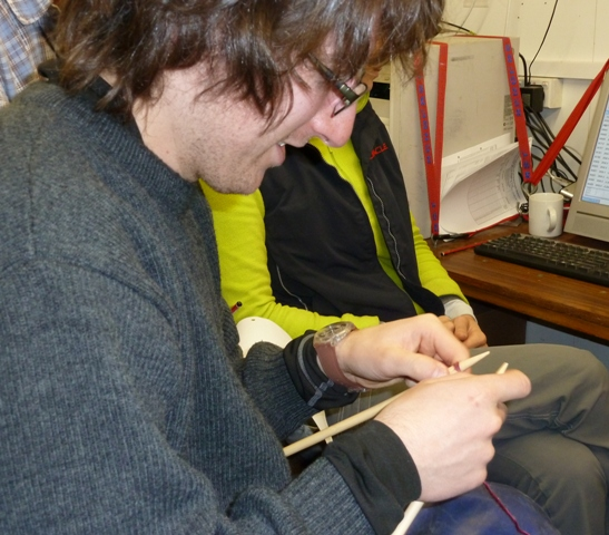 Antoine learning to knit. [Jill Scott]