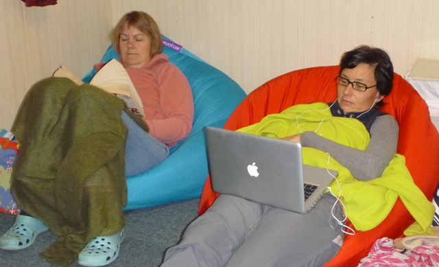 Kate Berry and Aitana Forcen taking refuge in the beanbag. [Jill Scott]