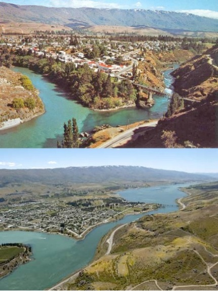 Confluence of Kawarau and Clutha Rivers and old Cromwell, before and after the formation of Lake Dunstan created by completion of the Clyde Dam in 1992, Otago.