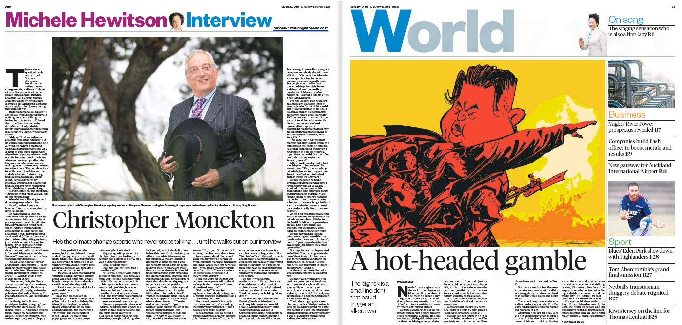 Lord Monckton earns serious newspaper real estate... opposite Kim Jong-un. Appropriate or what?