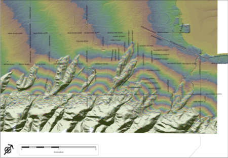 Elevation contours for the Richmond foothills. The outwash fans are the fan-shaped lobes across the middle of the image.