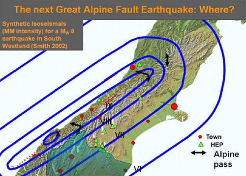 Potential shaking intensities (roman numerals) resulting from a rupture of the central section of the Alpine Fault. Source:http://www.orc.govt.nz/Information-and-Services/Natural-Hazards/Great-Alpine-Fault-Earthquake/