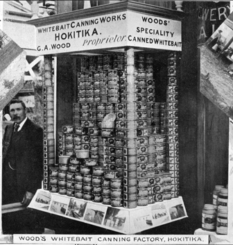 George Wood canned whitebait at Hokitika from 1893 until at least the 1920s. (Photo: Hokitika Museum, #4578)