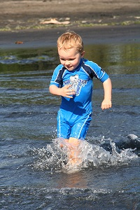 Swiming water quality samples are to be collected when people are likely to go swimming (K. Mischefski, Taranaki Regional Council).