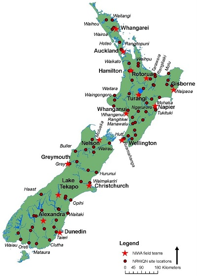The 77 river water quality monitoring sites in the National Rivers Water Quality Network (NRWQN) operated by NIWA.  The sites are mostly located close to flow monitoring sites.