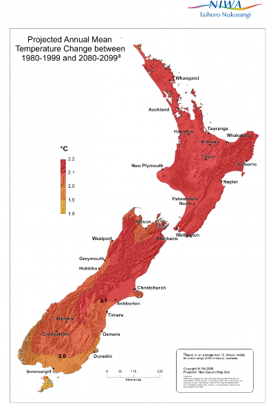 Middle-of-the-road projections of climate change indicate about a rise of about 2 degC in average temperatures across New Zealand by 2080-2099 compared with 1980-1999.