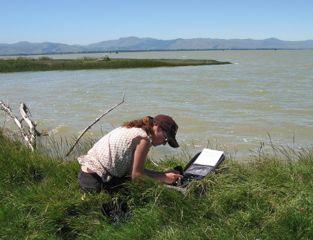 A Lincoln University research student measuring changes in water quality parameters over a 24 hr period in Lake Ellesmere/Te Waihora,  to understand how this large shallow lake responds to catchment land use.  (Photo: J. Webster-Brown)