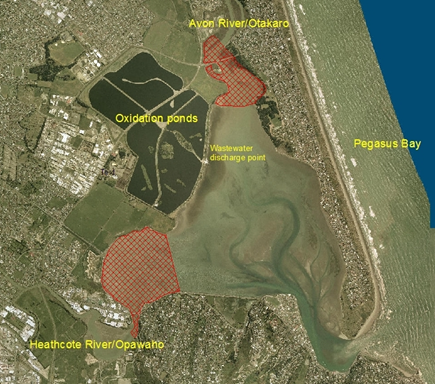 Aerial view of the Estuary of the Heathcote and Avon Rivers/Ihutai. Red areas – Coastal AE water, the remainder of the estuary is classified Coastal CR water.