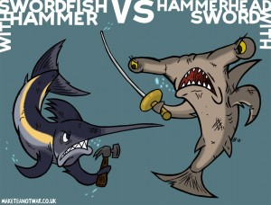 Swordfish or fish with sword?! Cartoon by Aaron Foster (@theGagaman)