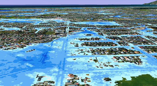 Inundation extent and depth across Christchurch, May 5 2014, based on photos received from the public. The Flockton basin is in the foreground. The darker the blue, the deeper the water relative to the ground. Houses were flooded, but were not under water.