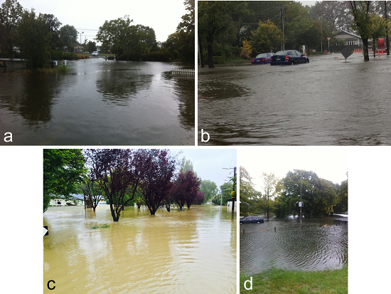 Flood photos received from the public. (a) Slater St, Richmond. (b) Francis Ave, Mairehau. (c) Buxton Tce flow gauging site, St Martins. (d) Intersection of Oxford Tce and Barbadoes St.