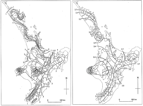 (Left) North Island contour map of the average annual flood scaled by catchment area from 1989. Units are in m3/s/km1.6. (Right) North Island contour map of the ratio of the 100-year flood to the annual flood.