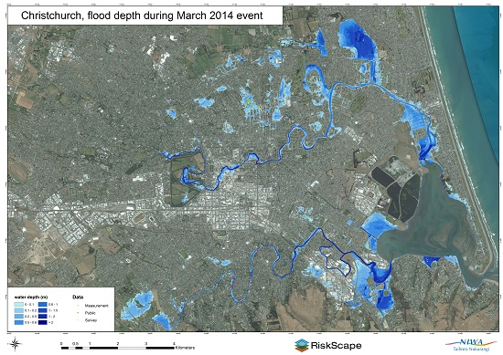 Water depths across Christchurch during the 5 March 2014 storm as derived from photos received from the public. Where houses are shown there is no modelled surface flooding on the property; where there are no houses shown surface flooding is indicated by the shade of blue.
