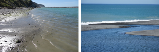 Figure 3. Where Hurunui River flows meet the Pacific Ocean: hapua lagoons (left) and outlets (right) are extremely dynamic due to their shifting balance of marine, fluvial and lagoon influences.