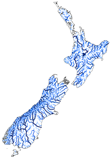 New Zealand's rivers coloured and scaled by their average annual discharge. Excludes rivers with an average discharge of less than 500 L/s.