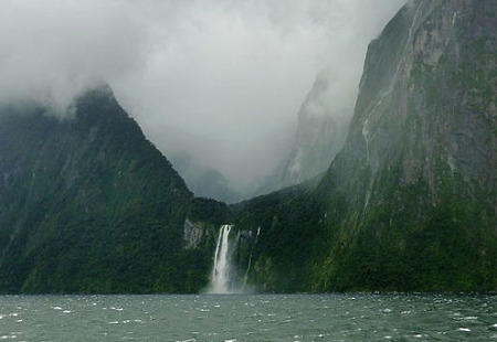 Figure 1. Stirling Falls, Milford Sound, flows out of a hanging and U-shaped glacial valley. [Image by Borvan53, licensed under the Creative Commons Attribution-Share Alike 3.0 Unported license.]